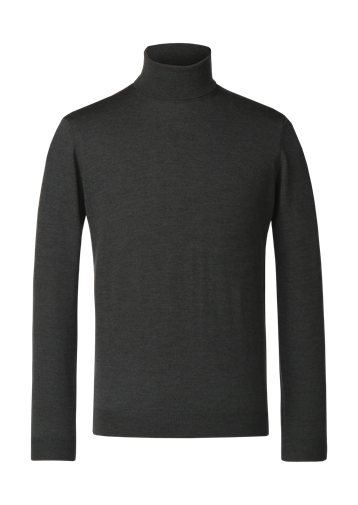 Gibson Forest Green Merino Polo Neck Jumper