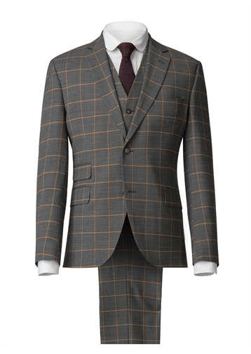 Charcoal Jacket With Apricot Check