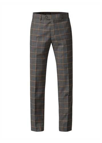 Gibson Charcoal Trousers With Apricot Check