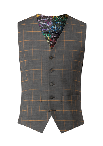 Gibson Charcoal Waistcoat With Apricot Check