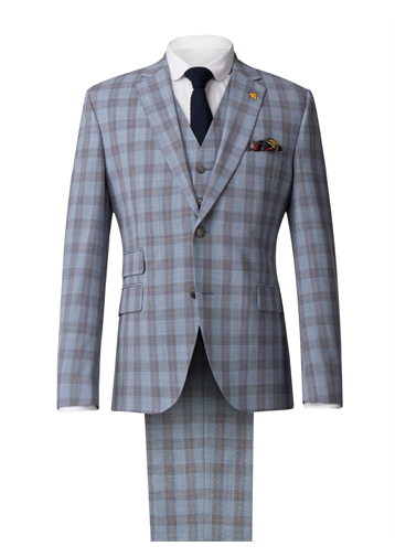 Gibson Pale Blue Check Suit