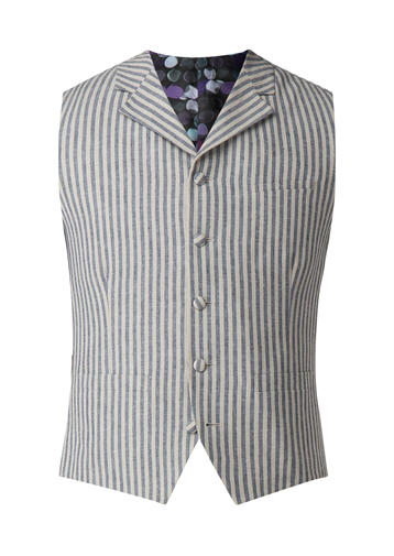 Gibson Blue and White Stripe Waistcoat