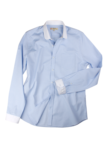 Gibson Pale Blue Penny Round Shirt