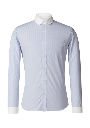 Gibson Blue And White Stripe Penny Round Shirt
