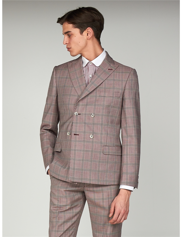 47b97afc106c28 Bermondsey Pink Check Double Breasted Slim Fit Suit · Slim Fit