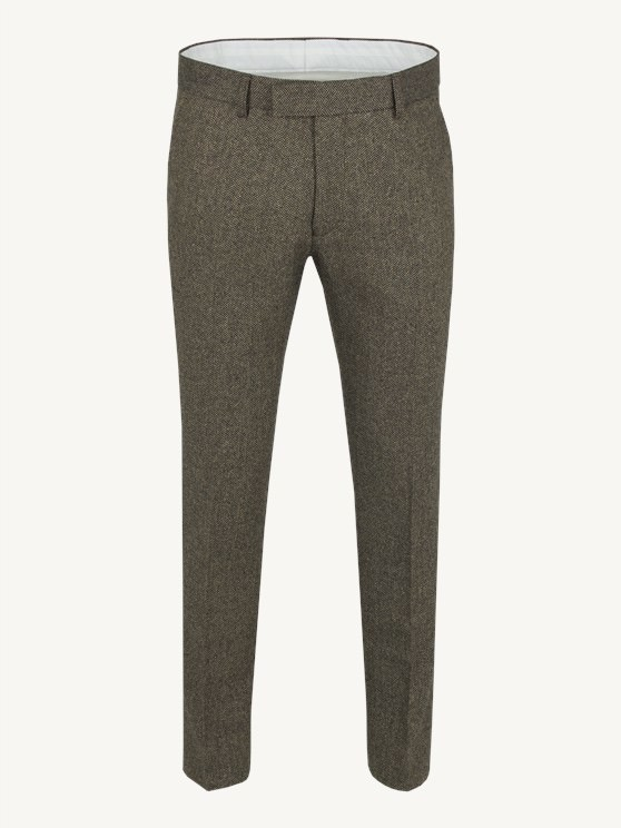 Taupe / Black Plain Fron Herringbone Trousers- currently unavailable