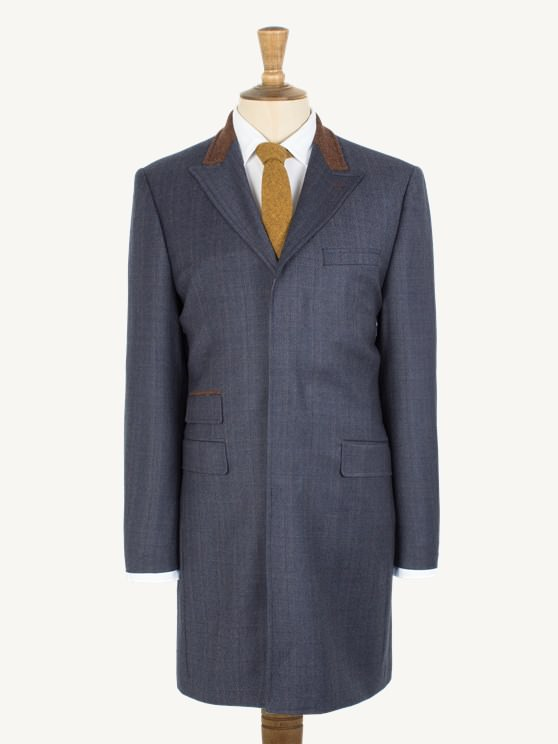 Dark Blue with Tan Overcheck Long Jacket- currently unavailable