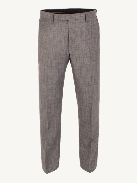 Taupe with Rust Overcheck Plain Front Trouser