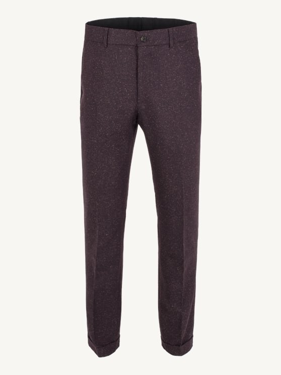 Burgundy Donegal Plain Front Trouser