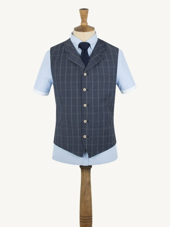 Navy Windowpane Check Waistcoat- currently unavailable