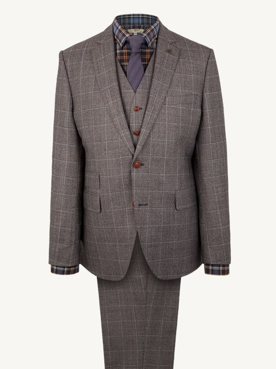 Grey Flannel Check Suit Trousers