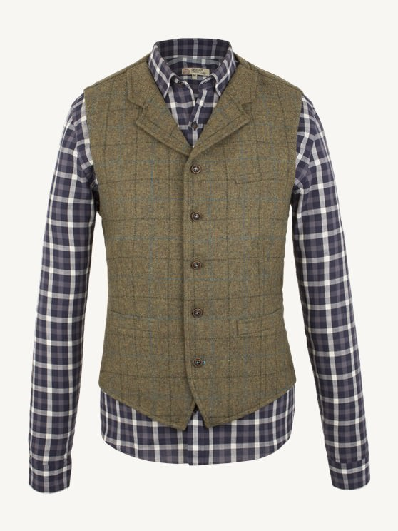 Sage Check Waistcoat- currently unavailable