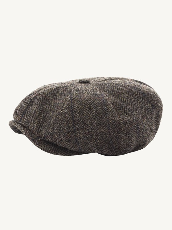 BROWN HERRINGBONE CHECK HAT- currently unavailable