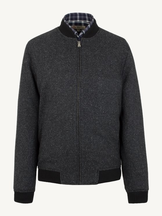Charcoal Herringbone Bomber Jacket- currently unavailable