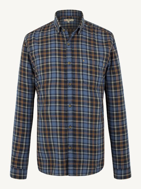 NAVY AND GOLD CHECK SHIRT- currently unavailable