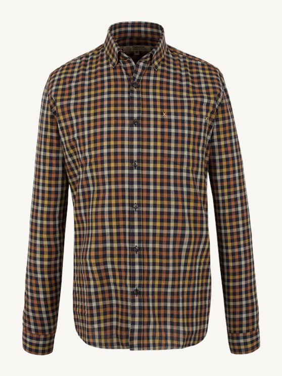 NAVY AND ORANGE MULTI CHECK SHIRT