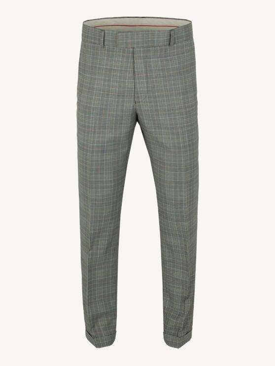 Grey Multi Check Suit Trousers