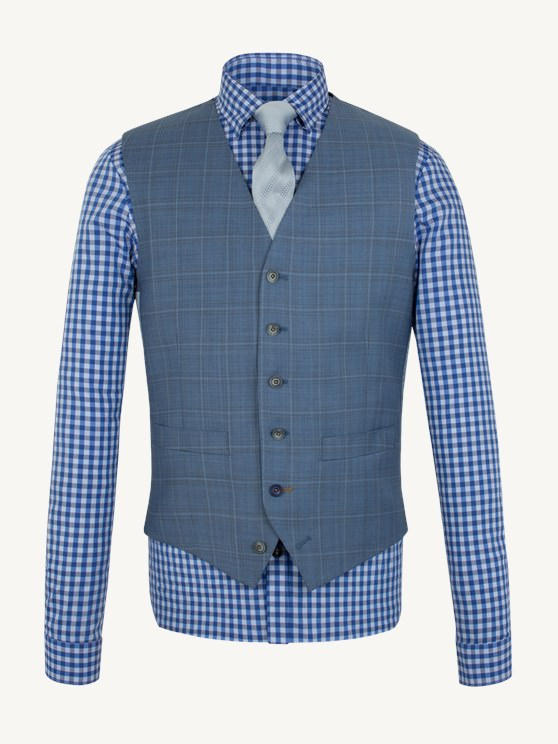 Pale Blue Check Waistcoat- currently unavailable