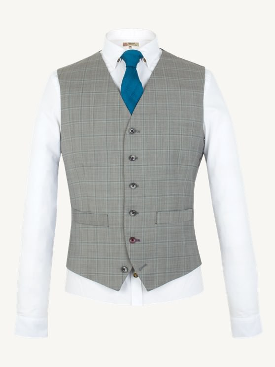 Taupe Check Waistcoat- currently unavailable