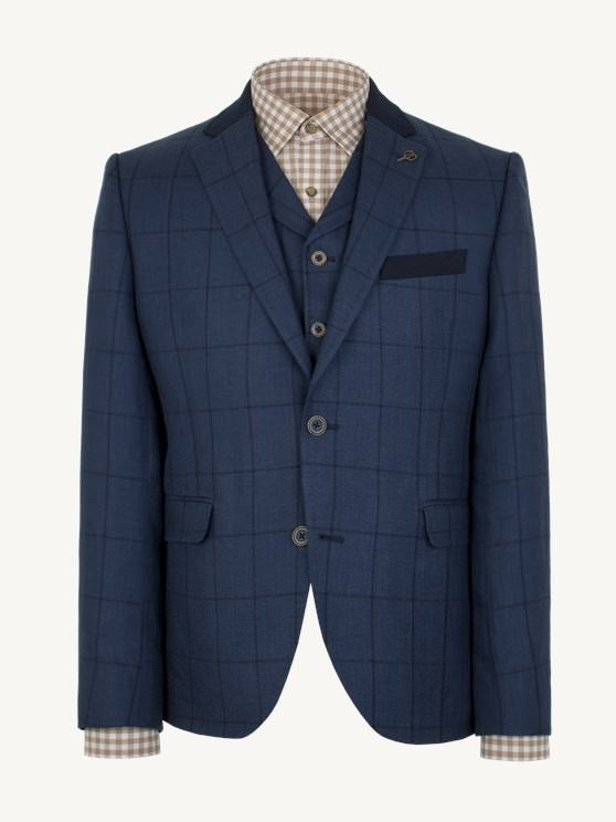 Navy Check Slim Fit Jacket- currently unavailable
