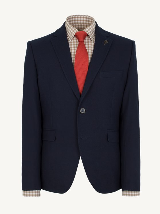 Navy Textured Slim Fit Jacket- currently unavailable