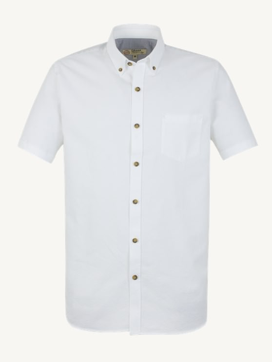 White Cotton Short Sleeve Shirt
