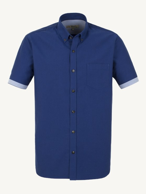 Cobalt Blue Cotton Short Sleeve Shirt- currently unavailable