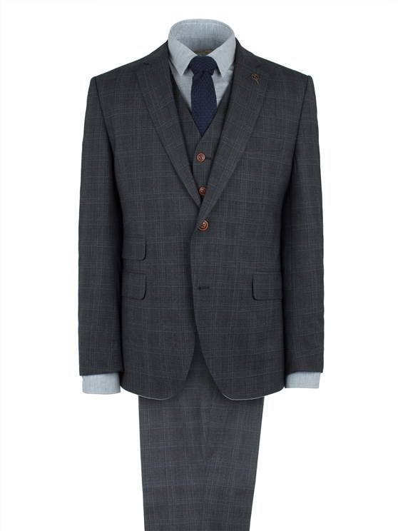 Charcoal Check Wool Blend Suit Trouser