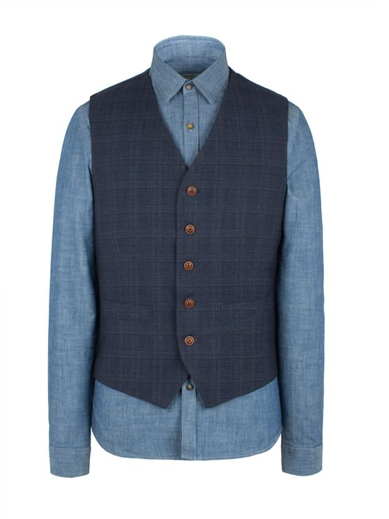 Blue Check Vest- currently unavailable