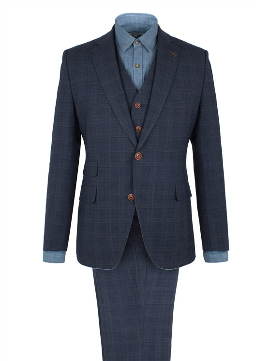 Blue Check Wool Blend Suit Jacket- currently unavailable