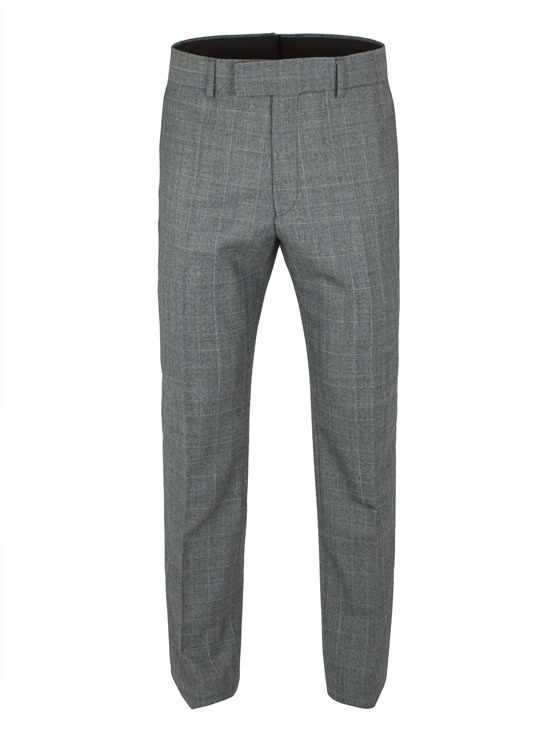 Grey With Lime Check Suit Trouser