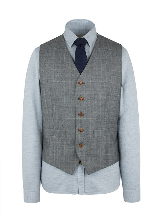 Grey Waistcoat With Lime Check