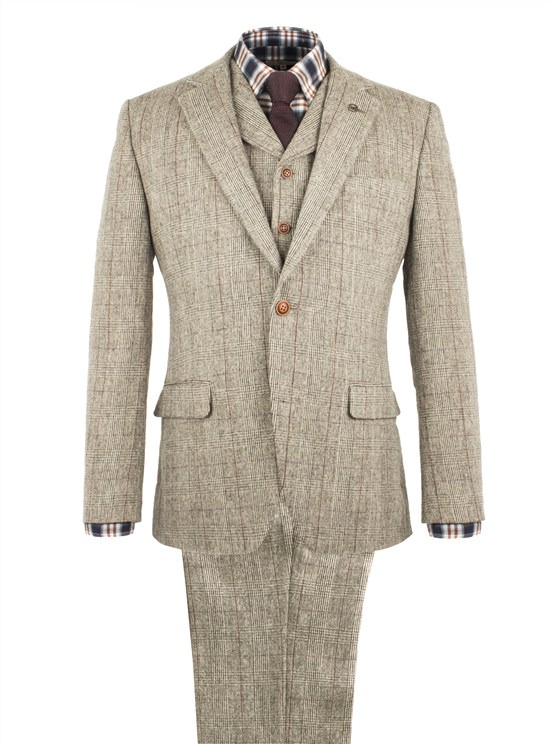 TAUPE WITH BURGUNDY CHECK JACKET- currently unavailable