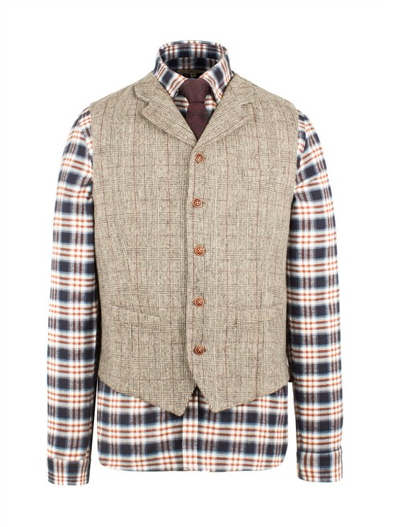 Taupe with Burgundy Check Waistcoat
