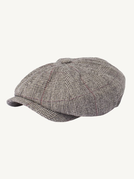 Taupe With Burgundy Check Hat- currently unavailable
