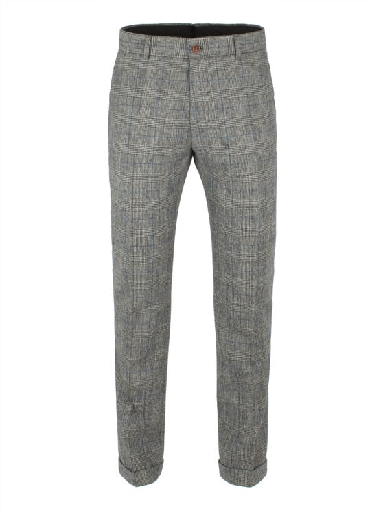 Grey With Blue Check Trouser