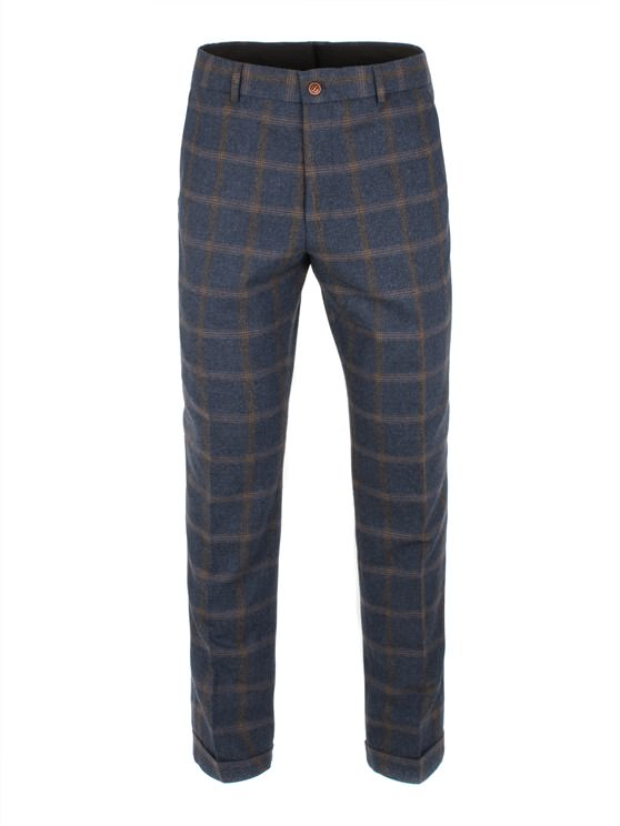 Navy And Tan Check Trouser