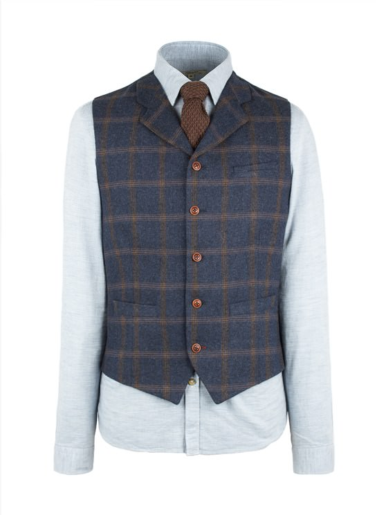 Navy And Tan Check Waistcoat- currently unavailable