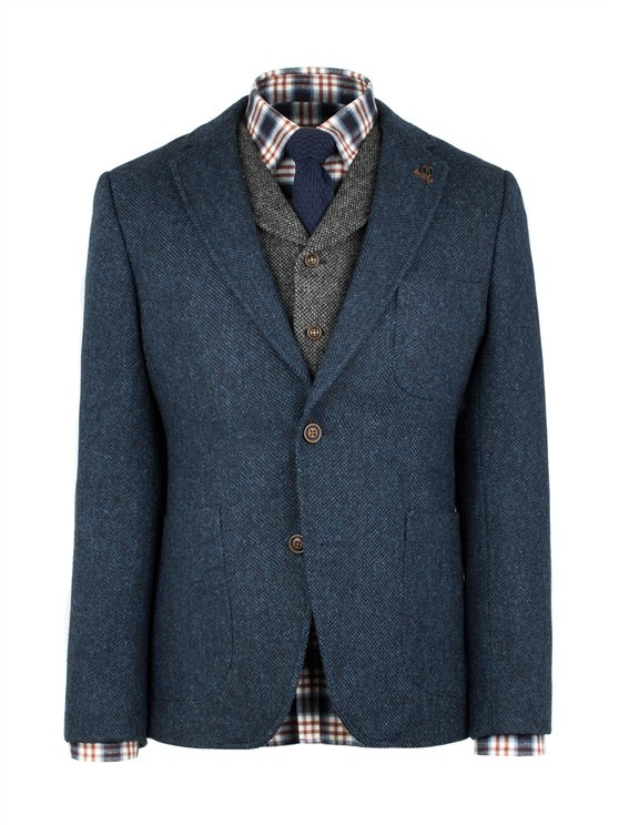Dark Blue Contrast Herringbone Jacket- currently unavailable