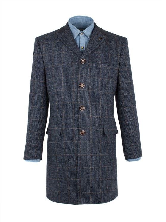 Navy Herringbone With Gold Check Long Jacket- currently unavailable