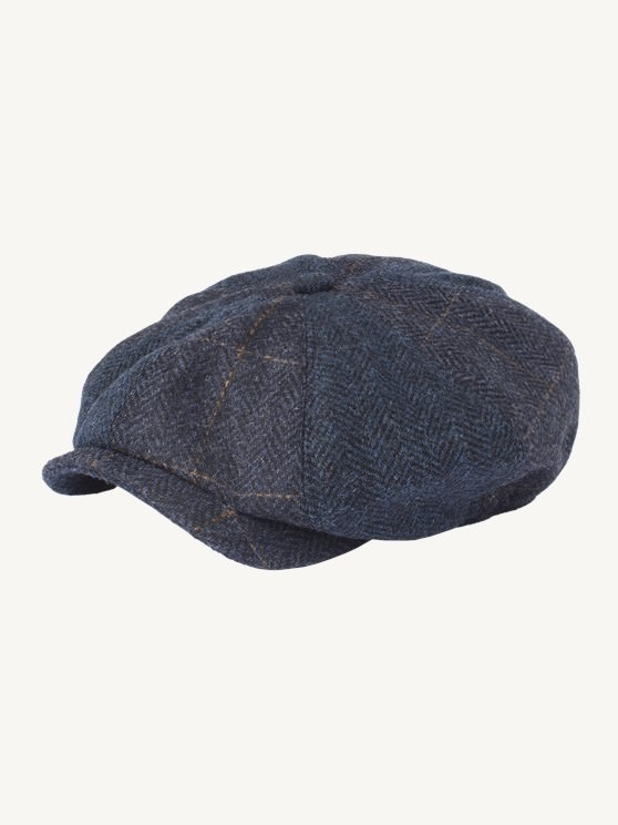 Navy Herringbone Check Hat- currently unavailable