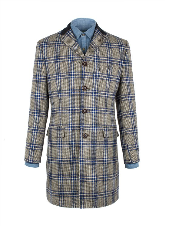 Taupe With Bold Blue Check Long Jacket- currently unavailable