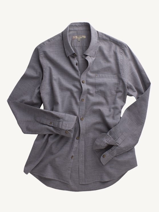 Taupe Mini Check Long Sleeved Shirt