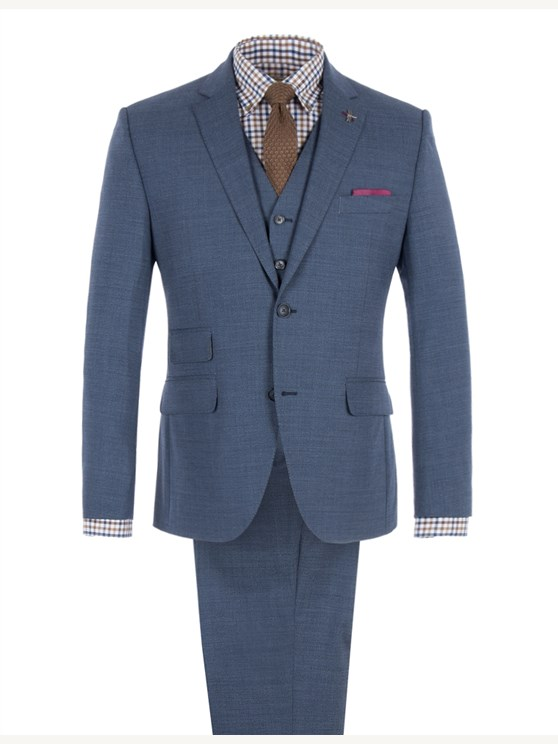 Blue Melange Suit