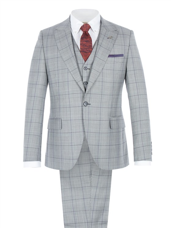 Grey Tailored Suit With Bold Purple Check