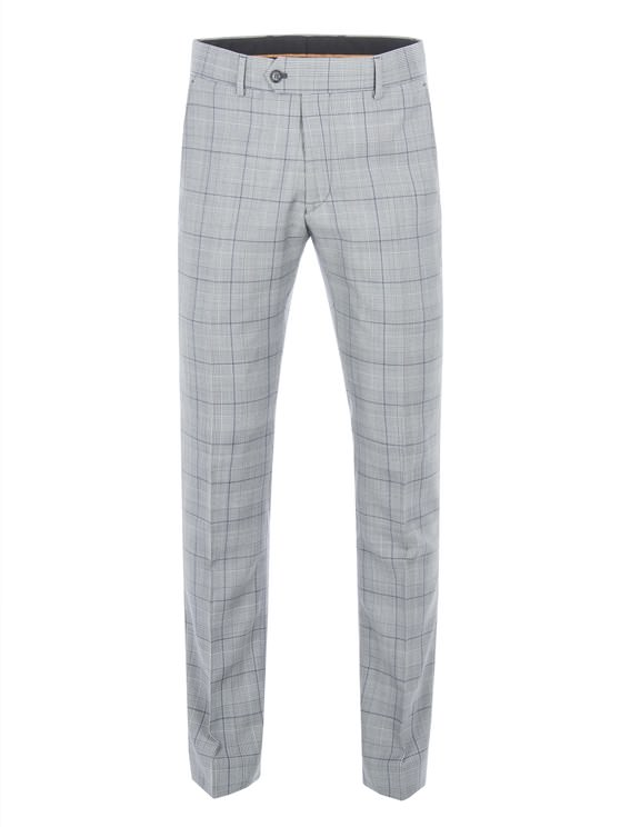 Grey Tailored Trousers With Bold Purple Check