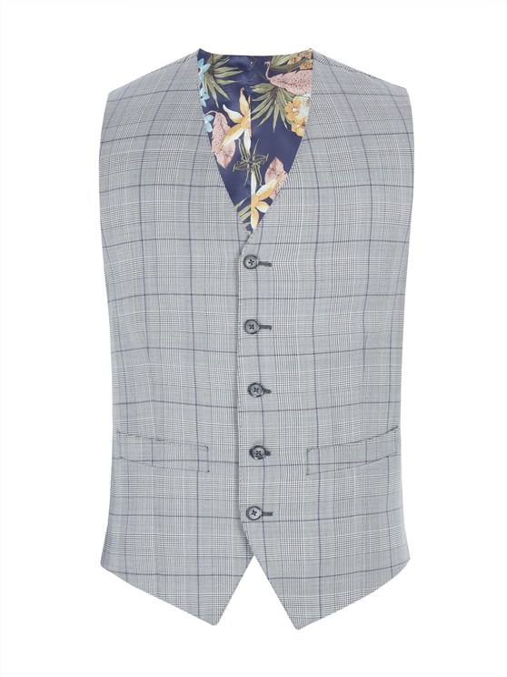 Grey Waistcoat With Bold Purple Check