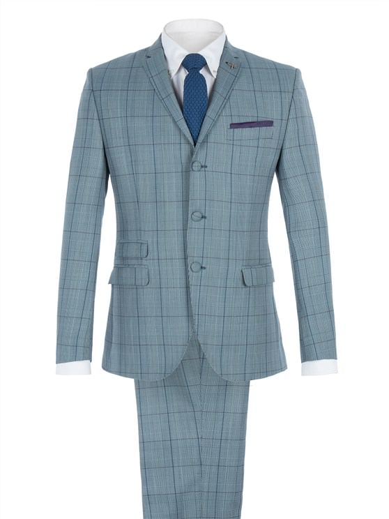 Blue Tailored Suit With Bold Check
