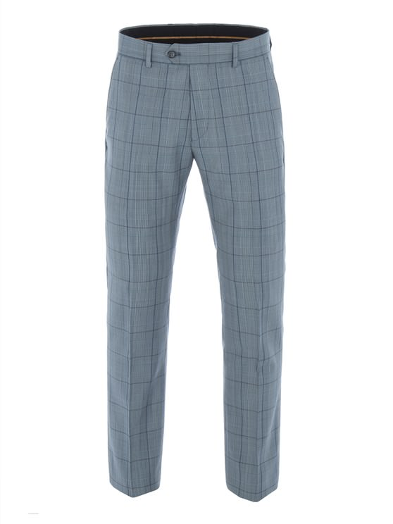Blue Tailored Trousers With Bold Check
