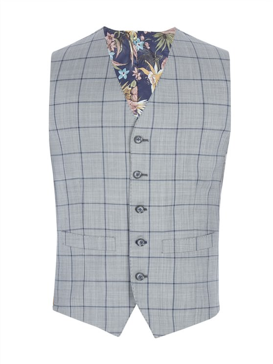 Grey Waistcoat With Bold Blue Check- currently unavailable